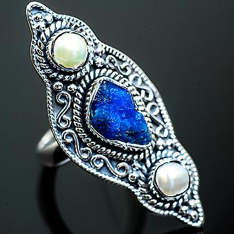 Large Blue Fluorite, Cultured Pearl Ring Size 6.25 (925 Sterling Silver)  - Handmade Boho Vintage Jewelry RING997216