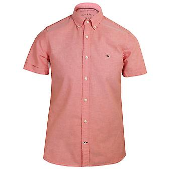 Tommy hilfiger mężczyźni's umyte vermillion oxford shirt