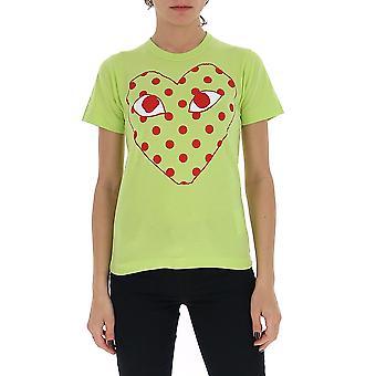 Comme Des Garçons Play P1t2752 Women's Green Cotton T-shirt