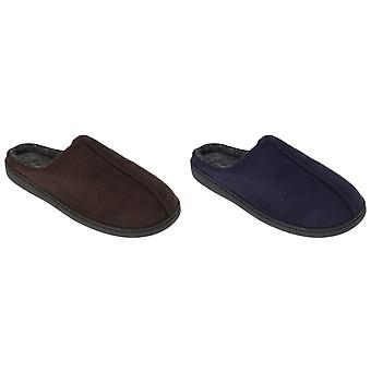 SlumberzzZ Mens Memory Foam Slippers With Rubber Sole