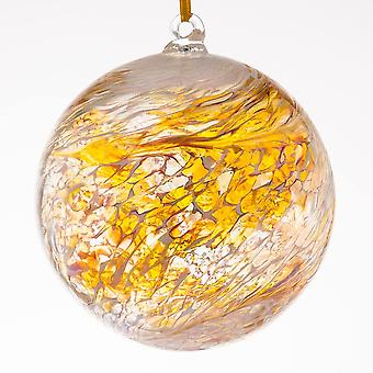 Sienna Glass 10cm Friendship Ball, Christening Pastel Gold