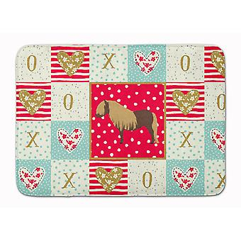 Shetland Pony Horse Love Machine Washable Memory Foam Mat