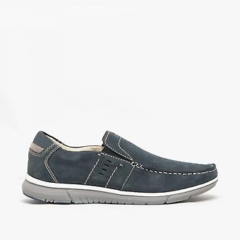 Roamers Lucas Mens Nubuck Slip On Mocassin Shoes Navy