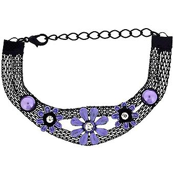 The Olivia Collection Girls-Ladies Black Mesh Bracelet with Purple Flower FJ212