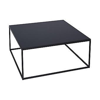 Gillmore musta lasi ja black metal nykyaikainen neliö sohvapöytä
