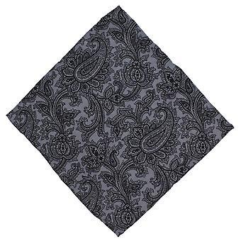 Michelsons London Paisley villaa Pocket Square - harmaa/musta