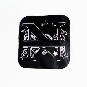 Turbinii e stelle alfabeto quadrato specchio acrilico lettera N