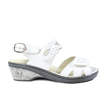 Waldläufer Hetta 547002 762 663 Weißes Leder Damen Slingback Verstellbare Sandalen