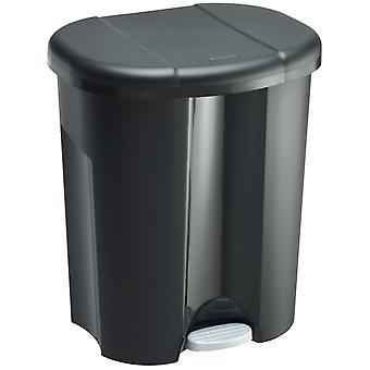 Cubo de basura Rotho Trio 1x 10l + 2x 15l para separación de residuos con tapa, plástico (PP) libre de BPA, negro, 1 x 10l + 2 x 15l (49,0 x 42,0 x 58,5 cm)