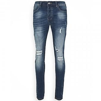 Kings Will Dream Selbourne Superslim Stretch Denim Blue Ripped & Repaired Jeans