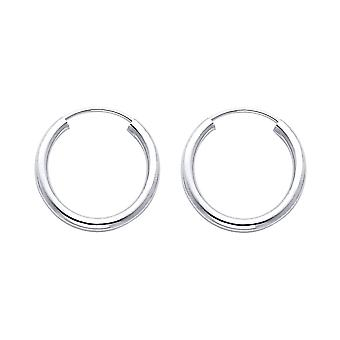 14k White Gold 2mm Round Tube Polished Endless Hoop Earrings 17mm Jewelry Gifts for Women - .8 Grams