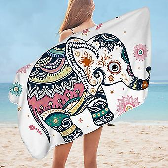 Cute Oriental Elephant Microfiber Beach Towel