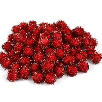 12 Red 12mm Tinsel Craft Pom Poms