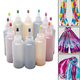12pcs Non Toxique Coloré Diy Fabric Tie Dye Kit - Peintures textiles Permanent Craft Clothing Graffiti Jacquard One Step Accessoires