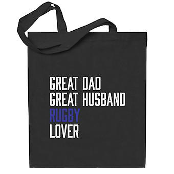 Suuri isä suuri aviomies rugby rakastaja totebag