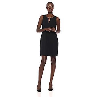 Brand - Lark & Ro Women's Sleeveless Split Neck Shift Dress, Black, 2