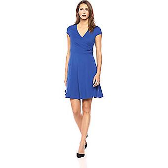 Brand - Lark & Ro Women's Cap Sleeve Faux Wrap Fit and Flare Dress, Co...