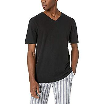 Goodthreads Men's Linen Cotton V-Neck T-Shirt, Black, XX-Large