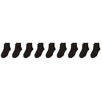 エッセンシャルガールズ&アポス;9パックコットンユニフォームターンカフソックス、ブラック、3〜10