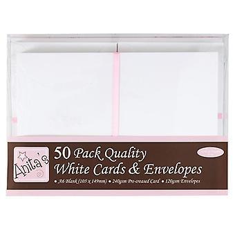 بطاقات &s A6 مغلفات بيضاء (50pk) (ANT 1511020)