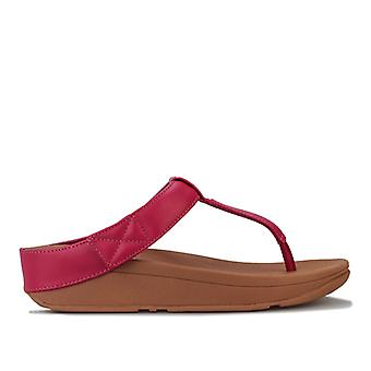 Women's Fit Flop Mina Leather Toe Thong Sandals in Pink