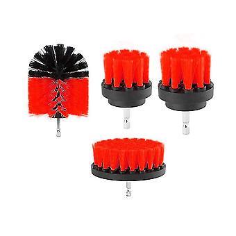 4 stycken som 2/3.5/4/5 tum All Purpose Drill Brush (Röd)