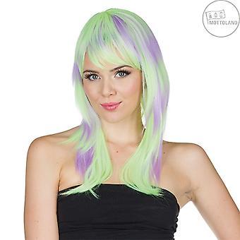 Kaja klassificeret langt hår paryk grøn-lilla pony 80'erne hippie