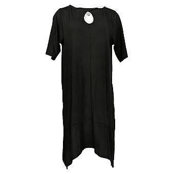 Cuddl Duds Petite Dress Flexwear Elbow-Sleeve Rainbow Hem Black A349599