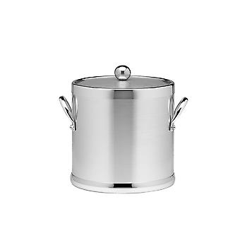 Brushed Chrome 3 Qt Ice Bucket W/ Side Handles & Metal Cover