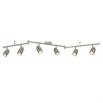 6 Lichte badkamer plafond spotlight bar satijn zilver IP44, GU10