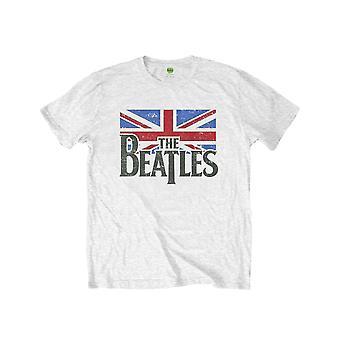 The Beatles Kids T Shirt Logo & Vintage Flag nieuwe Officiële White (Leeftijden 7-14 jaar)