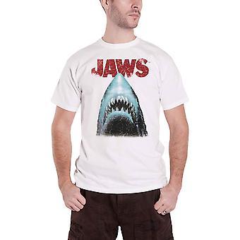 Jaws T Shirt Klassisk filmaffisch Logo nya officiella Mens Vit