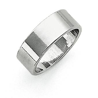 925 Sterling Silver Solid Polished Engravable Lightweight 7mm Flat Band Ring - Ring Size: 4 to 13.5
