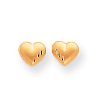 14k gult gull hul innlegg øredobber gnisten kutt og sateng puffed kjærlighet hjerte øredobber måler 4x5mm smykker gaver til W