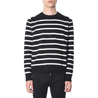 Saint Laurent 577732yafu21095 Men's Wit/zwarte wollen trui