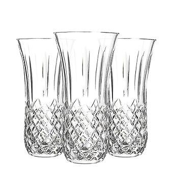 RCR Crystal 3 Piece Opera Cut Glass Table Centrepiece Vase Set - 25cm Decorative Flower Vases