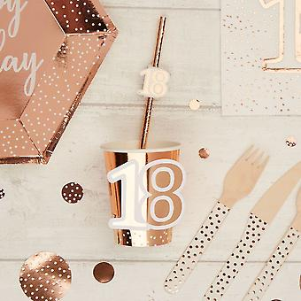 Rose Gold 18th Birthday Party Paper Cups x 8