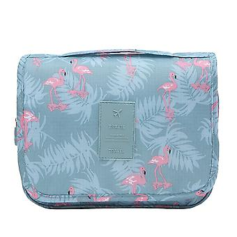 Portable Hanging Travel Organizer Bag Pouch Blue Flamingo