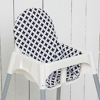 Puckdaddy Seat Cushion Asta pre IKEA High Chair Antilop Cross Black White