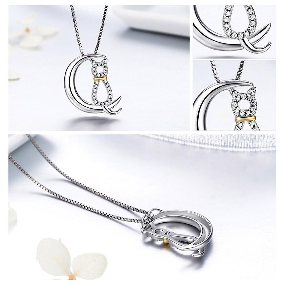 Pendentif Lune et Chat orné de Cristal de Swarovski blanc et argent 925