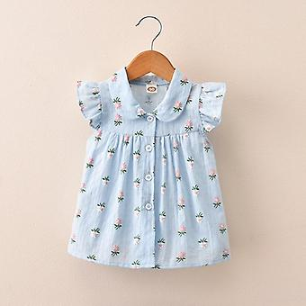 Children's Wear Summer's Shirts- Broken Flowers Short, Sleeved Little Sleeve