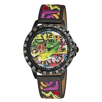 Rebel Women-apos;s RB122-6071 Dumbo Graffiti Dial Imprimé Montre-bracelet en cuir noir