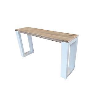 Wood4you - Side table enkel steigerhout 140Lx78HX38D cm wit