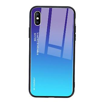 Stuff Certified® iPhone XS Case Gradient - TPU and 9H Glass - Shockproof Glossy Case Cover Cas TPU Blue
