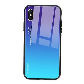 דברים מאושרים® iPhone XS מקרה הדרגתי - TPU וזכוכית 9H - כיסוי מארז מבריק עמיד לזעזועים Cas TPU כחול