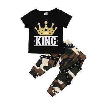 Nyfødte Kids Toppe, T-shirt, Camo Bukser, Outfits Set