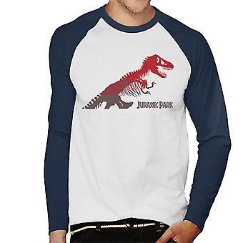 Jurassic Park T Rex Punainen Luuranko Siluetti Miesten's Baseball Pitkähihainen T-paita
