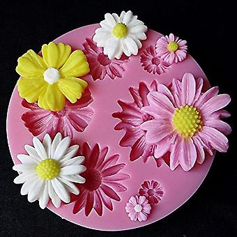 3d Sunflower Rose Flowers Silicone Cake Border Decoration, Sugarcraft Cake Mold
