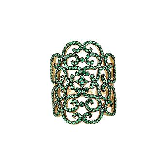 Grevinne Filigrane Cocktail Ring Emerald Green Gold