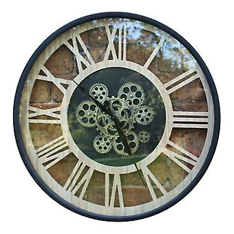 Natural Metal Ornamental Moving Gear Style Wall Hanging Clock 57cm